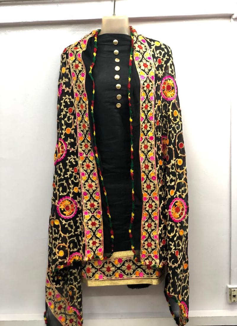 Plain Black Salwar Suit with heavy Embroidered Dupatta
