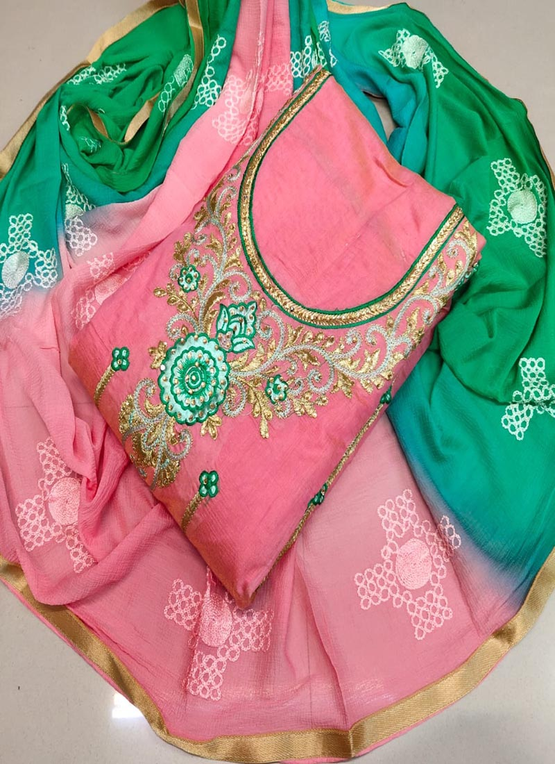 Party Wear Pink and Green Punjabi Dress Material