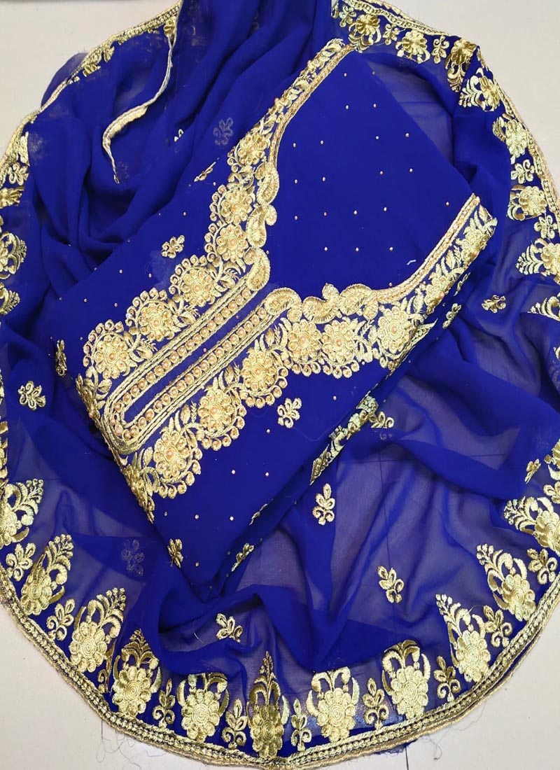 Latest Blue Georgette Churidar Dress Material