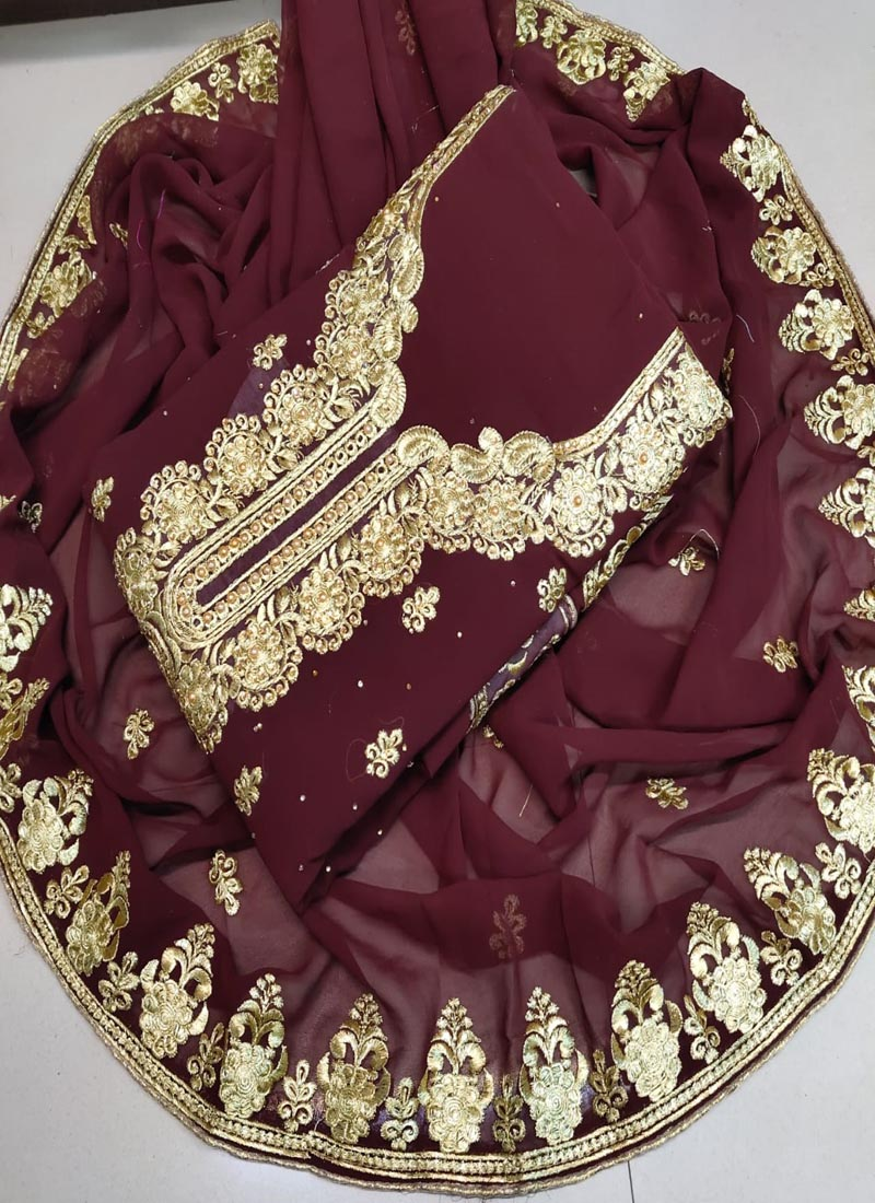 Party Wear Brown Georgette Ladies Dress Material