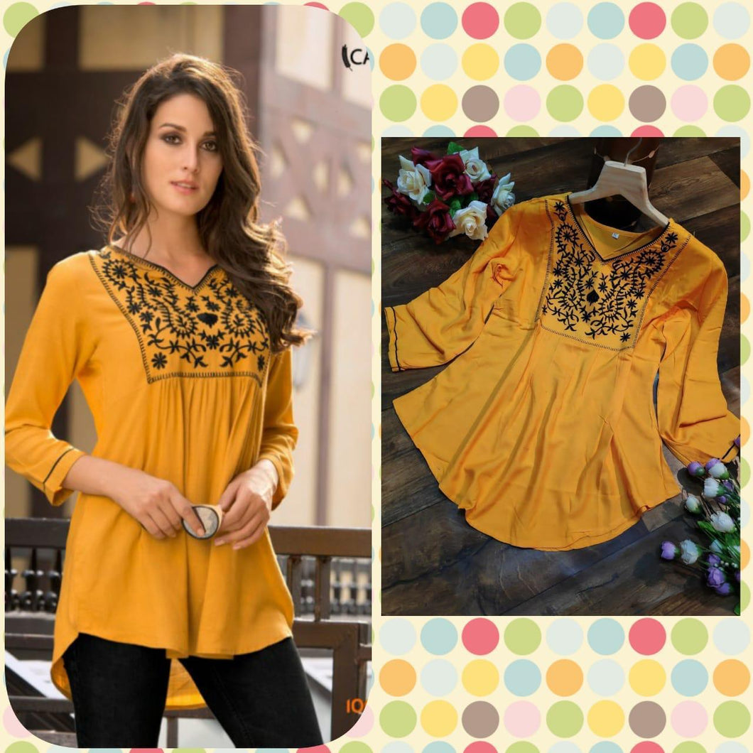 Admire Women Mustard Embroidered Top