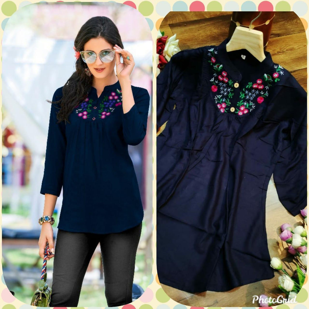 Admire Women Blue Embroidered Top