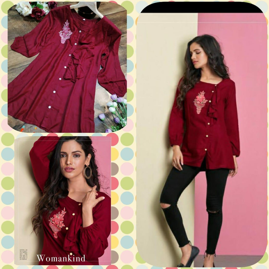 Women Maroon Pure Rayon Embroidered Top