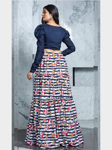 Designer Blue Crop Top With Printed Skirt