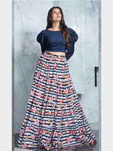 Load image into Gallery viewer, Designer Blue Crop Top With Printed Skirt