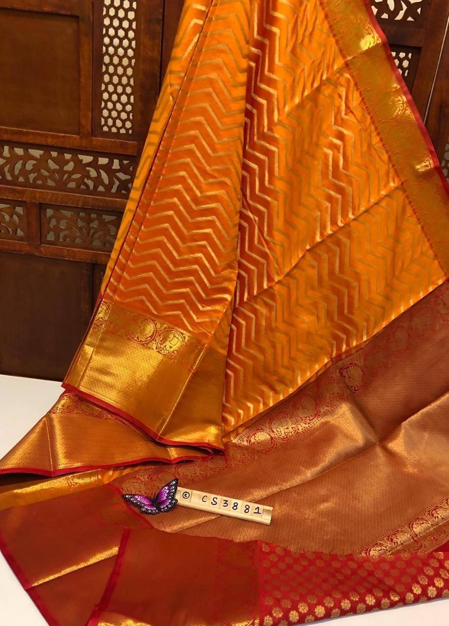 Designer Golden Kanjeevaram Wedding Silk Saree