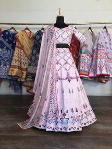 Designer Light Pink Silk Printed Lehenga Choli
