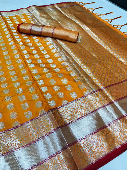 Buy Designer Orange Silver Zari Woven Lichi Silk Saree Online from Dhaga Fashion