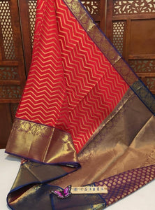 Designer Orange and Blue Zari Border Kanchipuram Saree