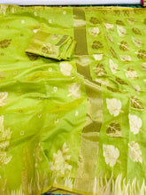 Load image into Gallery viewer, Designer Parrot Green Cotton Linen Silk Saree