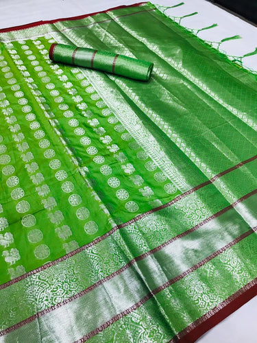 Buy Designer Parrot Green Silver Zari Woven Silk Saree Online from Dhaga Fashion