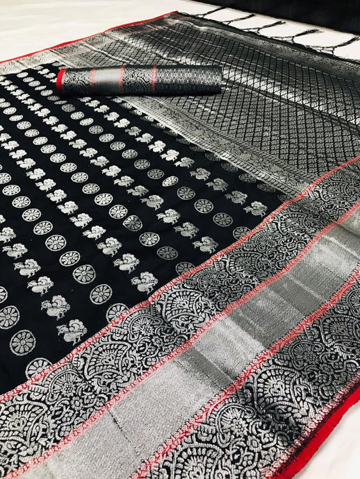 Buy Designer Party Wear Black Silver Zari Woven Silk Saree Online from Dhaga Fashion