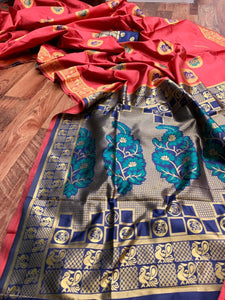 Designer Peach and Blue Paithani Silk Saree