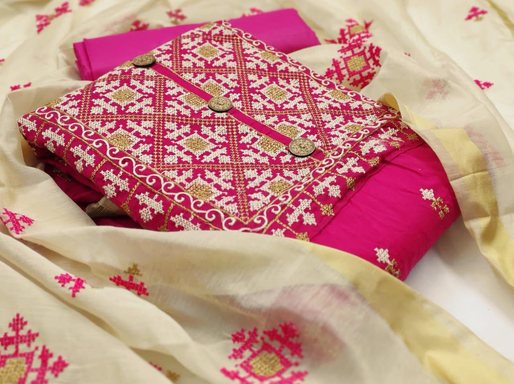 Designer Pink Cotton Dress Material