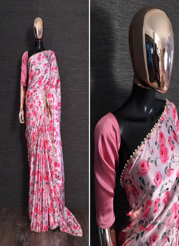 Buy Designer Pink Floral Printed Satin Saree Online from Dhaga Fashion