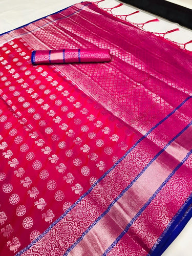 Buy Designer Rani Pink Silver Zari Woven Lichi Silk Saree Online from Dhaga Fashion