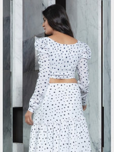 Designer White Printed Crop Top And Skirt
