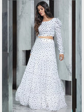 Load image into Gallery viewer, Designer White Printed Crop Top And Skirt
