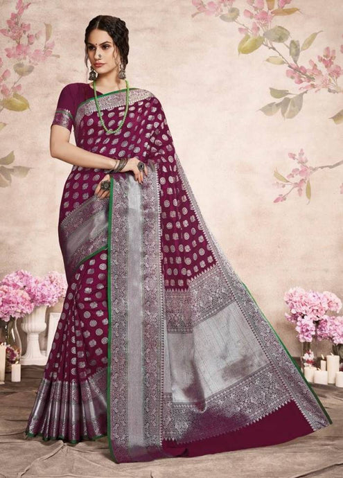 Buy Designer Wine Silver Zari Woven Lichi Silk Saree Online from Dhaga Fashion