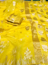 Load image into Gallery viewer, Designer Yellow Cotton Linen Silk Saree