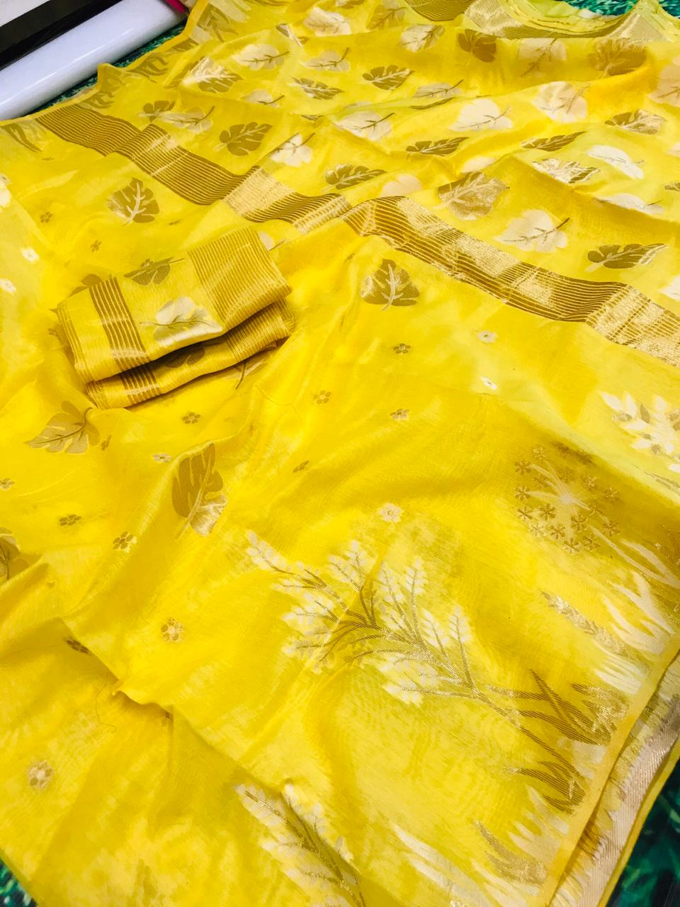 Designer Yellow Cotton Linen Silk Saree