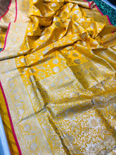 Load image into Gallery viewer, Designer Yellow Pure Kanchipuram Handloom Saree