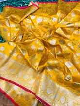 Load image into Gallery viewer, Buy Designer Yellow Pure Kanchipuram Handloom Saree Online from Dhaga Fashion
