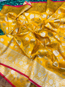 Buy Designer Yellow Pure Kanchipuram Handloom Saree Online from Dhaga Fashion