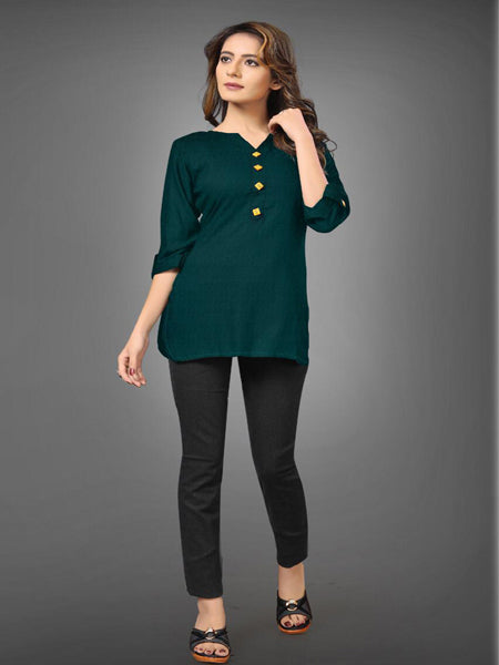Casual Green Rayon Tunic Top