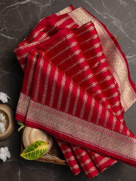 Designer Red Banarasi Kanchipuram Silk Saree