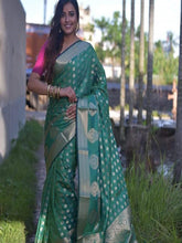 Load image into Gallery viewer, Green Cotton Silk Saree
