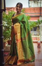 Load image into Gallery viewer, Green Muslin Silk Saree with Golden Border
