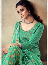 Load image into Gallery viewer, Green Printed Cotton Patiala Suit