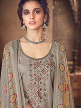Load image into Gallery viewer, Grey Printed Cotton Patiala Suit