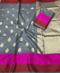 Grey and Rani Pink Soft Linen Silk Saree