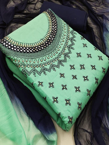 Green And Blue Cotton Salwar Suit Material