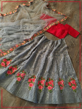 Load image into Gallery viewer, Grey Net Embroidered Lehenga Choli With Net Dupatta