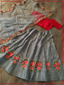 Grey Net Embroidered Lehenga Choli With Net Dupatta
