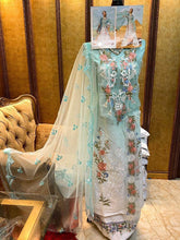 Load image into Gallery viewer, Sky Blue Cotton Pakistani Embroidery Patch Work Dress Material