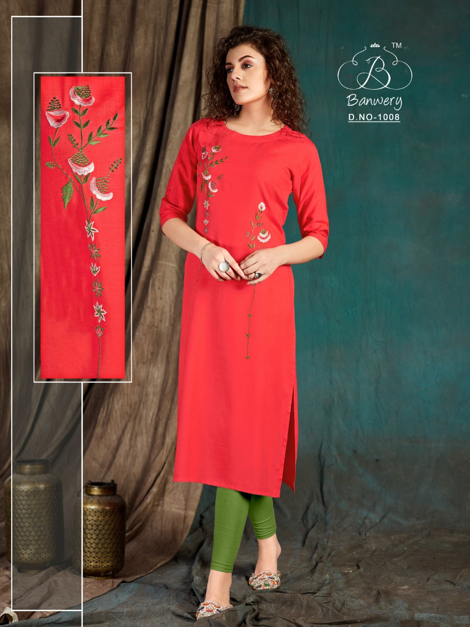 Embroidered Orange Color Women's Long Kurti
