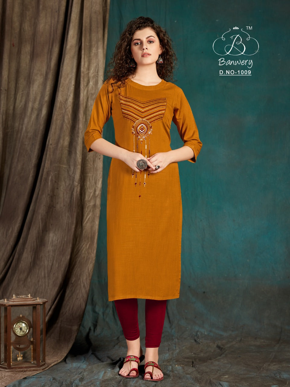 Mustard Color Embroidered Women's Long Kurti