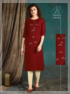 Maroon Color Embroidered Women's Long Kurti