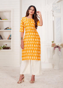 Yellow Color Women's Cotton Kurti with Plazzo