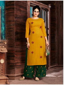 Mustard Women's Embroidered Long Kurti