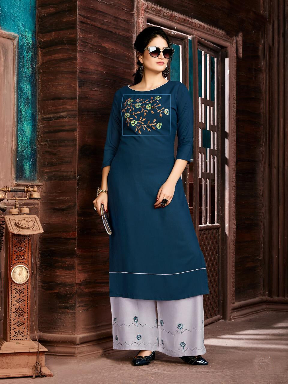 Blue Color Women's Embroidered Long Kurti