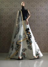 Load image into Gallery viewer, White Blue Zari Satin Floral Printed Lehenga Choli