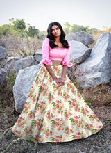Load image into Gallery viewer, Gold-Pink Zari Satin Floral Printed Lehenga Choli