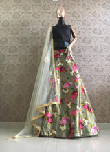 Load image into Gallery viewer, Grey Zari Satin Floral Printed Lehenga Choli