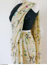 Load image into Gallery viewer, Lemon Yellow Printed Georgette Fancy Saree