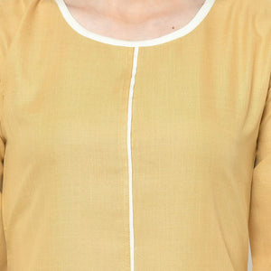 Mustard Yellow Long Cotton Kurti With Palazzo